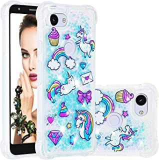 Cfrau Liquid TPU Case with Black Stylus for Google Pixel 3A,Luxury Love Hearts Stars Series Cute Pattern Bling Glitter Sparkle Floating Shockproof Quicksand Case,Pony Paradise