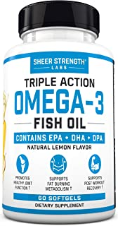 Fish Oil Omega 3 DHA Supplement - Triple Strength Fish Oil Burpless & Organic - Supports Joint Health & Post Workout Recov...