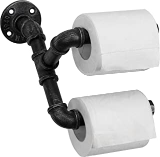 MyGift Wall-Mounted Dual Toilet Paper Roll Holder with Industrial Pipe Design - Holds 2 Rolls