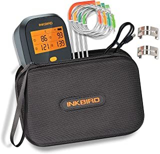 Inkbird WiFi Digital BBQ Meat Thermometer IBBQ-4T with 4 Probes Rechargeable Battery + Waterproof Carrying Case for BBQ Ki...