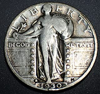 1930 S U.S. Standing Liberty Silver Quarter Dollar, (1-Coin) Strong Full Date (1/4) Fine to XF