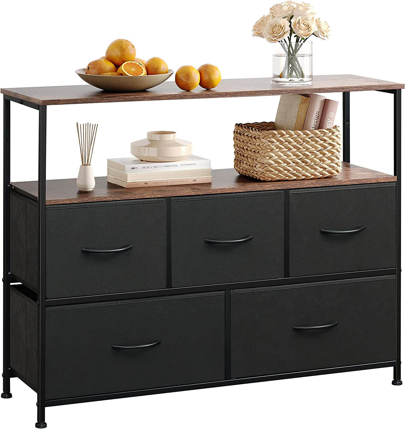 WLIVE Dresser TV Stand, Entertainment Center with Fabric Drawers, Media Console Table with Open Shelves for TV up to 45 inch, Storage Drawer Unit for Bedroom, Living Room, Entryway, Black