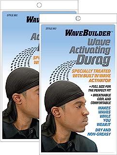 Wavebuilder Wave Activating Durag, Black, 2 Pack