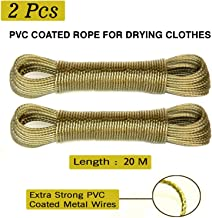 AllExtreme EX20CH2 20M PVC Coated Stainless Steel Clothesline with Hooks Multipurpose Rope Wire for Hanging Drying Laundry Cloth (Random Color, 2 PCS)