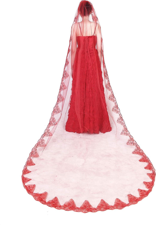 Aimeely Women Vintage 3M Red Lace Appliques Long Wedding Bridal Veil Hair Accessories