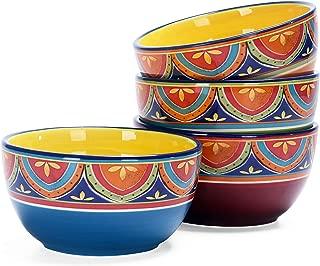Bico Vintage Tunisian 26oz Ceramic Cereal Bowls Set of 4, for Pasta, Salad, Cereal, Soup & Microwave & Dishwasher Safe