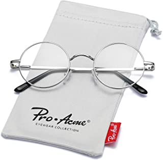 4cd946748bc Pro Acme Non Prescription Glasses with Clear Lens Retro Small Round Metal  Frame
