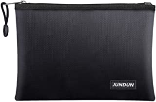 """JUNDUN Fireproof Document Bags,13.4""""x 9.4""""Waterproof and Fireproof Money Bag,Fireproof Safe Storage Pouch with Zipper for ..."""