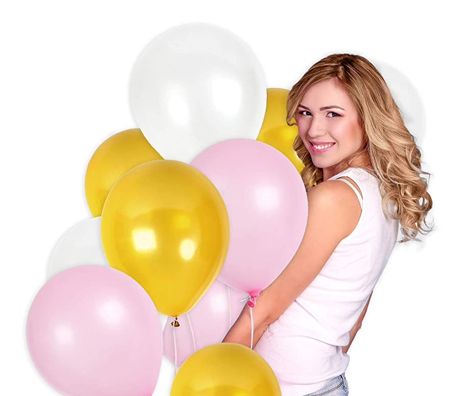 Pack of 100 White Baby Pink and Gold 12 Inch Latex Balloons for Bridal Shower Party Decorations Set Golden Happy Birthday Floating Backdrop Banner