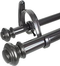Decopolitan Urn Telescoping Double Drapery Rod Set, 36-72-Inch, Bronze