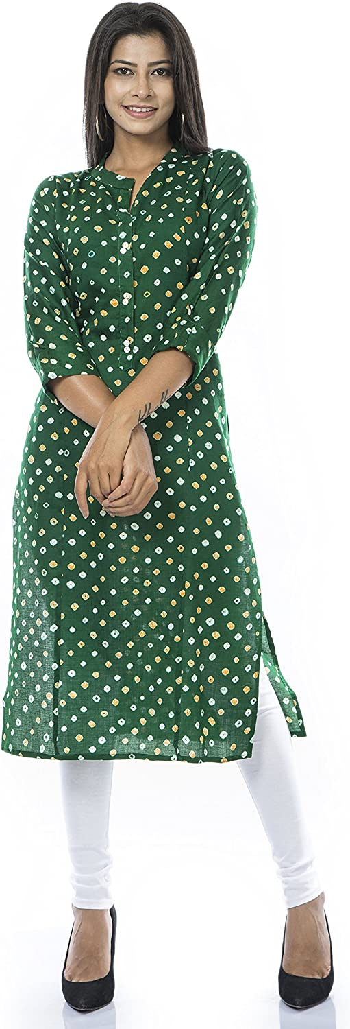 ladyline Cotton Bandhani Printed 70% Jacksonville Mall OFF Outlet Kurti Do Tunic Women for Button
