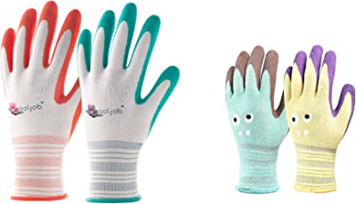 COOLJOB 6 Pairs Gardening Gloves for Women and 2 Pairs Kids Garden Gloves for Age 2-12, Rubber Coated Protective Work Gloves