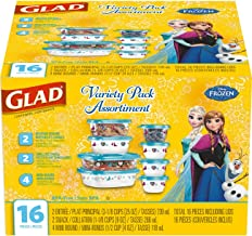Glad Food Storage Containers - Disney Frozen Variety Container Pack - 8 Containers - 16 Piece Set