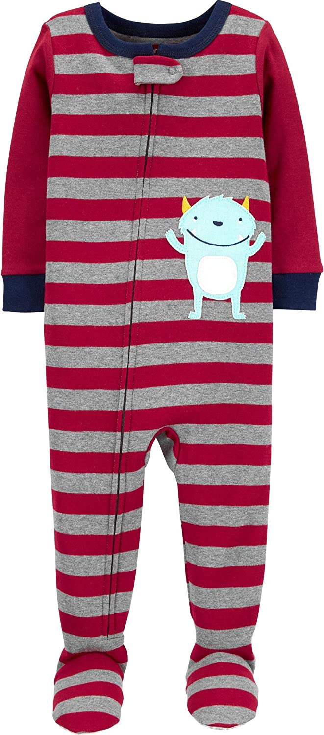 Carter's Baby Boys' Cotton Zip-Up Sleep N Play (24 Months, Red Stripe Monster)
