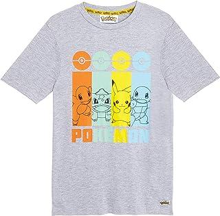 Pokemon Camiseta Niño, Camisetas Niño Manga Corta con Personajes Pikachu Bulbasaur, Charmander y Squirtle, Camiseta Color Gris Algodon, Regalos para Niños Niñas 4-14 Años