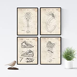 Nacnic Vintage - Pack of 4 Sheets PATENTS Climbing. Set Posters Inventions Old patents. Choose The Color You Like. Printed on 250 Grams