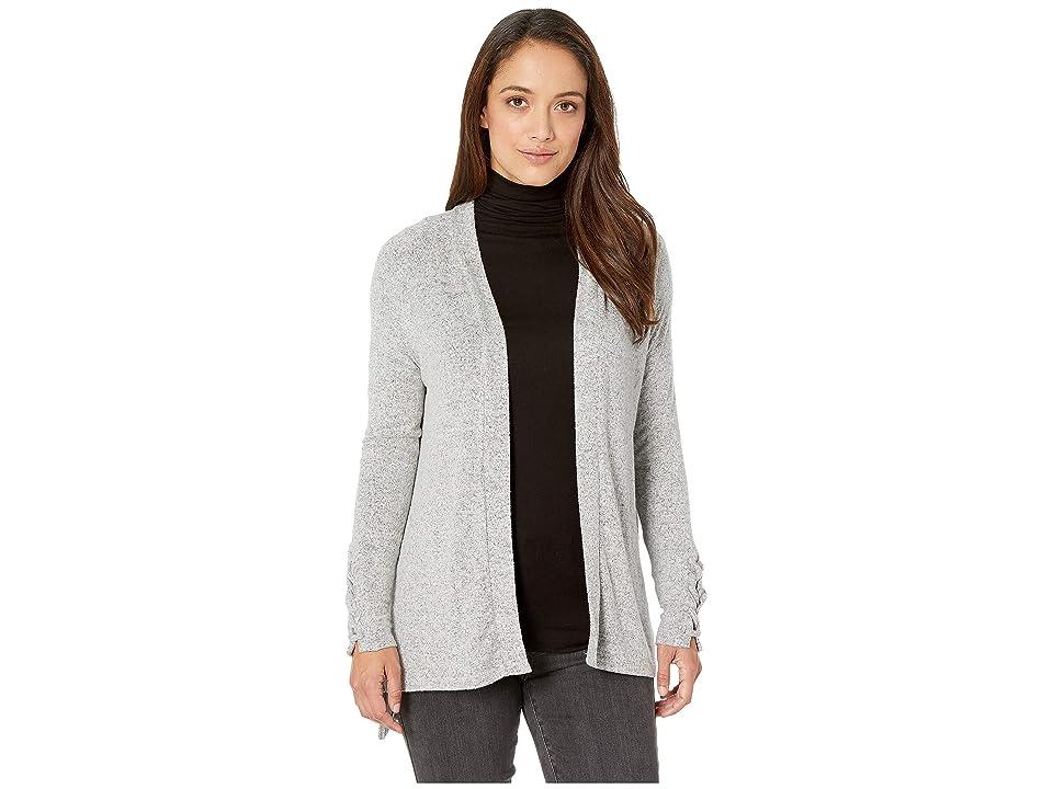 Image of ALEXANDER JORDAN Cozi Cardigan w/ Lace-Up Cuff Detail (Light Heather Grey) Women's Sweater