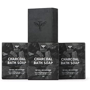 Bombay Shaving Company Activated Bamboo Charcoal Bath Soap for Deep Clean and Anti-pollution Effect, 125g (Pack of 3)   Made in India