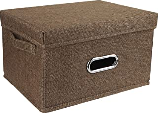 Boîte de rangement Redmoo, panier de rangement pliable en tissu de lin, avec couvercle, boîte de rangement pliable pour ar...