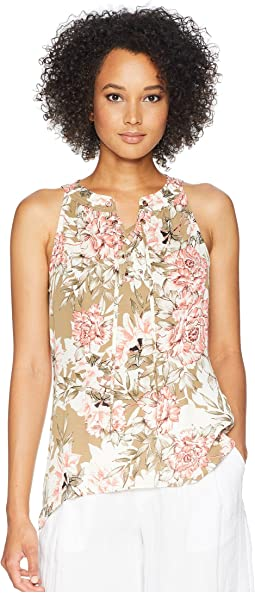 Sleeveless Printed Ruffle Top
