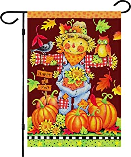 Happy Fall Garden Flags,Double Sided Autumn Flag Scarecrow Harvest Pumpkin Yard Decorations Fall House Flags 12 x 18 Inch ...