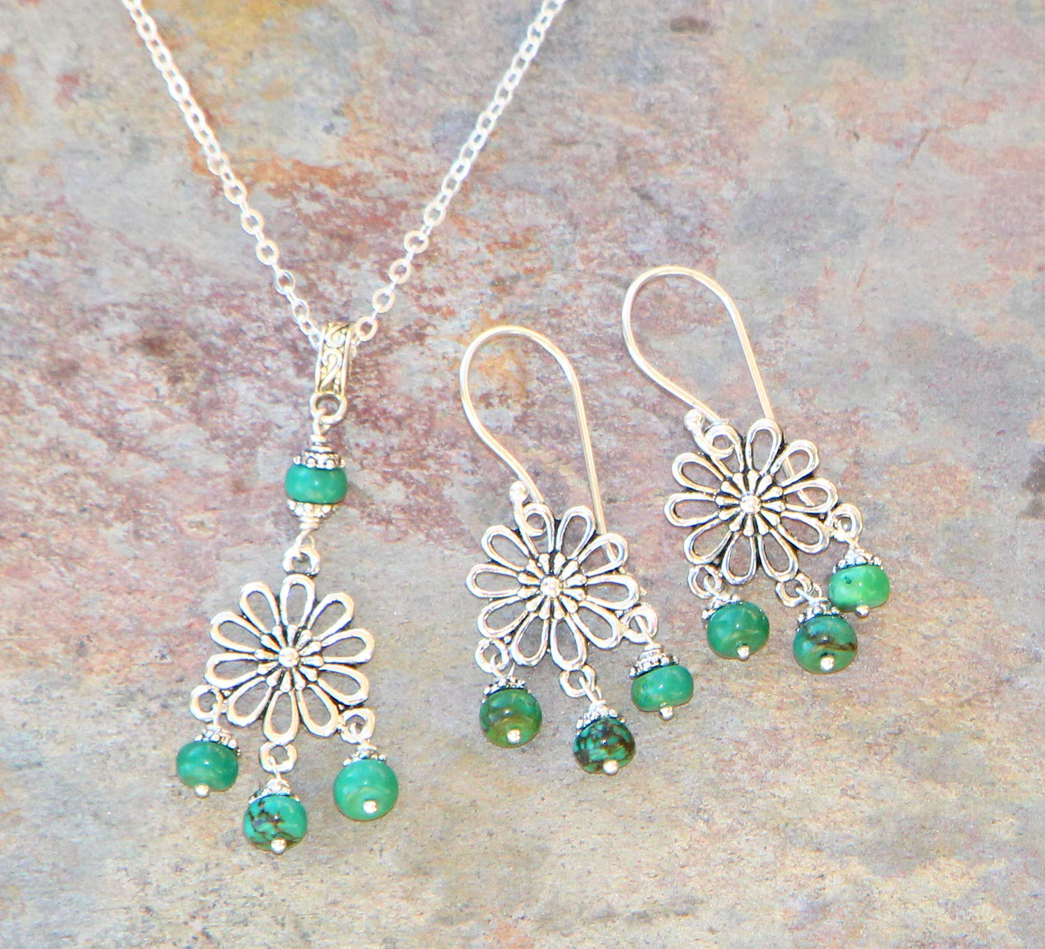 Green Turquoise Jewelry Shipping Sale special price included Flower Set S