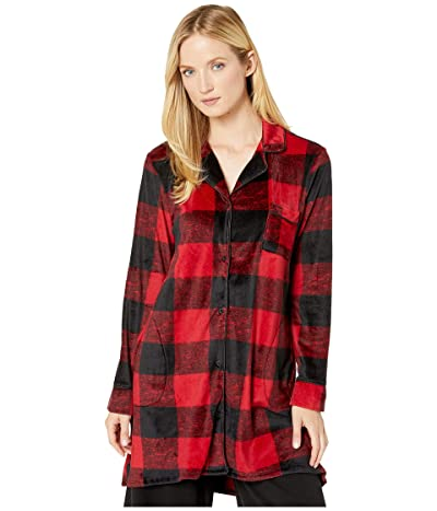 Donna Karan Stretch Velour Sleepshirt (Garnet Plaid) Women