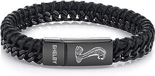 Shelby Cobra - Black Carbon Fiber Bracelet | Black Steel Chain Bracelet for Men Cobra Super Snake