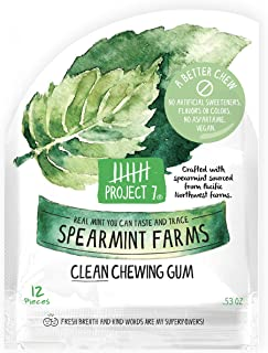 Project 7 Clean Gum Spearmint Farms | Long Lasting, Vegan, Non-GMO, Aspartame Free, Sugar-Free & Low Carb | 12 packs (144 ...
