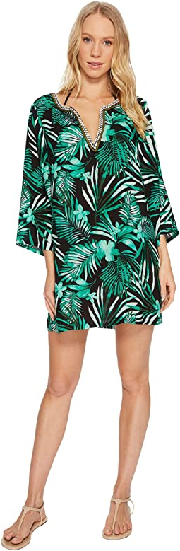 Jantzen - Leafy Tropical Crochet Trim Tunic Cover-Up