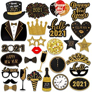 Dusenly 2 Confezioni di Occhiali da Festa di Capodanno 2021 Occhiali Quadrati in plastica con Montatura Rotonda Paillettes Dorate Decorazioni per Feste di Capodanno 2021