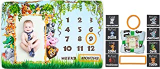Shivanz Safari Baby Milestone Blanket - Felt Markers - 8 Chalkboard Color Cards - Swaddle - Fun Animals - Registry Gift - Photo Background - Perfect for Scrapbooking - Unisex - 40x60""