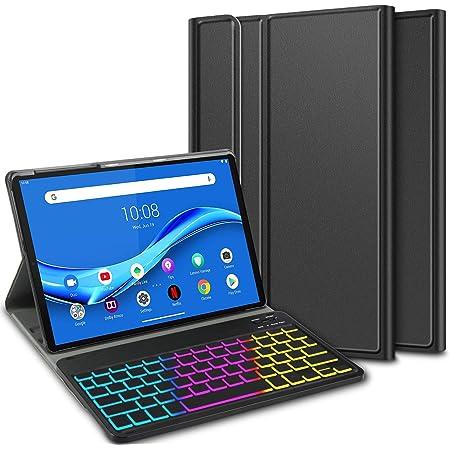 ELTD Funda con Teclado Español Ñ para Lenovo Tab M10 FHD Plus (2nd Gen) 10.3 Inch, Teclado inalámbrico 7 Colores Cubierta de Teclado retroiluminada de ...