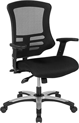 Flash Furniture High Back Black Mesh Multifunction Executive Swivel Ergonomic Office Chair with Molded Foam Seat and Adjustable Arms