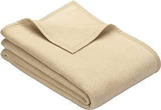 IBENA Plush Solid Color Cotton Blend Queen Bed Blanket Porto - Cream