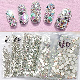 Top Quality SS4 AB 1440pcs Crystal AB Color Super Shiny Nail Art Rhinestones Flat Back Non Hotfix Strass Stone 3D Nail Decorations Gems Accessories Manicure