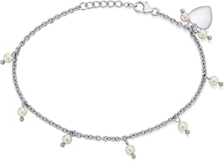 Peora .925 Sterling Silver Pure Pearl White Gold Rhodium Bracelet for Women Girls with Lobster Clasp