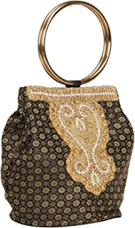 Fantastic Indian Women's Embroidery Double Handle Potli Bag