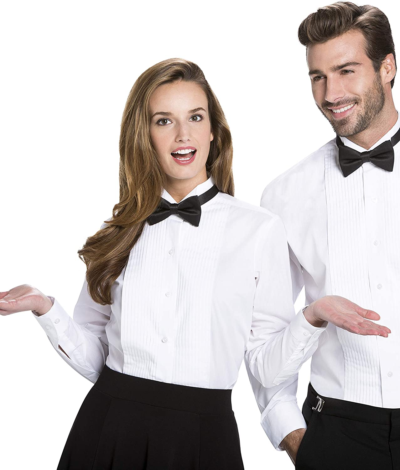 Luxe Microfiber Women's Button-Down 1/4 Inch Pleated Tuxedo Shirt, Regular Fit Wing Collar - Style Nicole