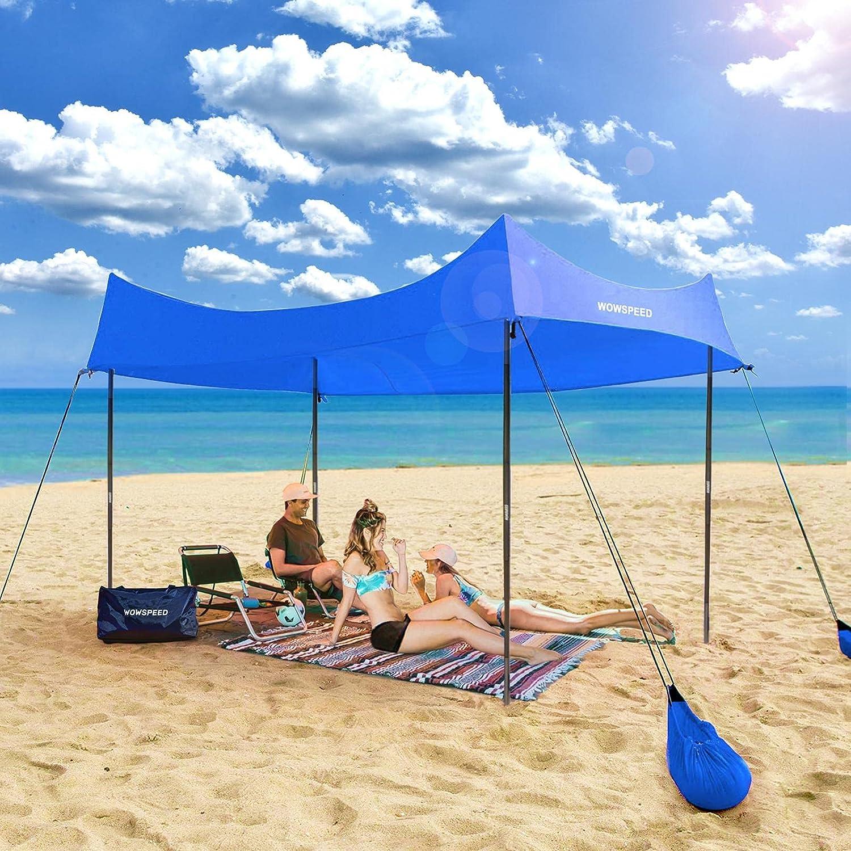 Fresno Mall Family Beach Tent Sunshade with 4 Protec Aluminum UV In a popularity Poles UPF50