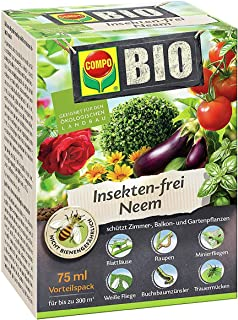 Compo Bio Insekten-frei Neem, Bekämpfung von Schädlingen u.a. Buchsbaumzünsler an Zierpflanzen, Kartoffeln, Gemüse und Kräutern, 75 ml, 300 m²