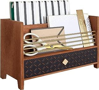 Blu Monaco Letter Sorter Mail Organizer - Desktop Organizer with Drawer - Antique Gold Brass Finish on Trim - Mail sorter - Wooden Desk Organizer