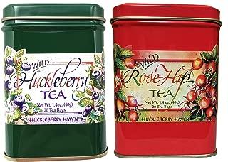 Huckleberry Flavor Ceylon Black Tea Rosehip Herbal Tea Pack of two Natural Wild Berry 40 CountTea Bags
