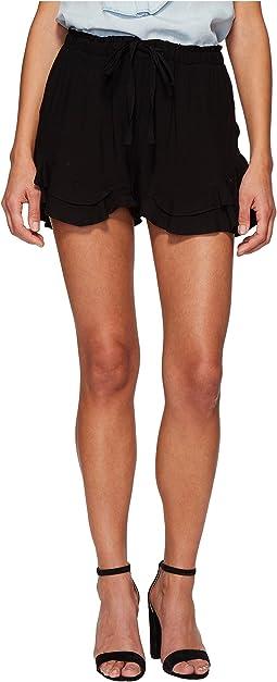 Alder Rayon Twill Double Ruffle Hem Shorts
