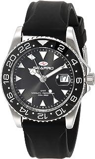 Seapro Men's Agent Stainless Steel Quartz Rubber Strap, Black, 20 Casual Watch (Model: SP0121)