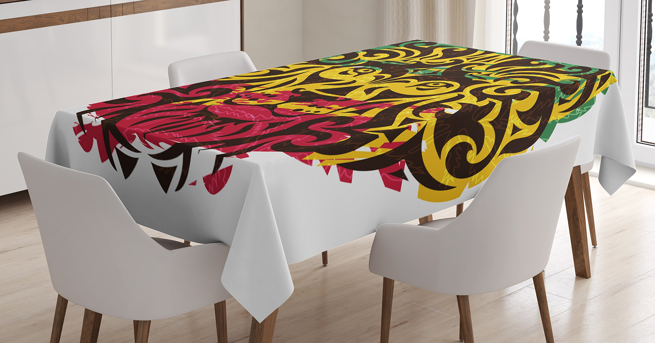 Amazon Com Ambesonne Rasta Tablecloth Ethiopian Culture Wild Lion Head Grunge Style Flag Colors Dining Room Kitchen Rectangular Table Cover 52 X 70 Brown Marigold Pink And Green Home Kitchen
