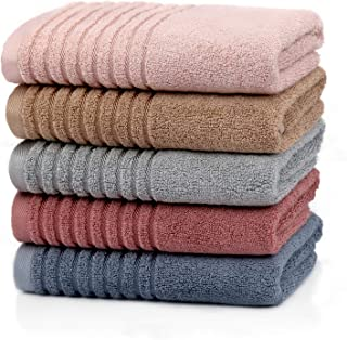 Etech フェイスタオル 綿100% 撚糸 ソフト ふわふわオーガニックコットン ホテル仕様 柔らかい なめらか 速乾 73x35cm 5色5枚組 家庭用