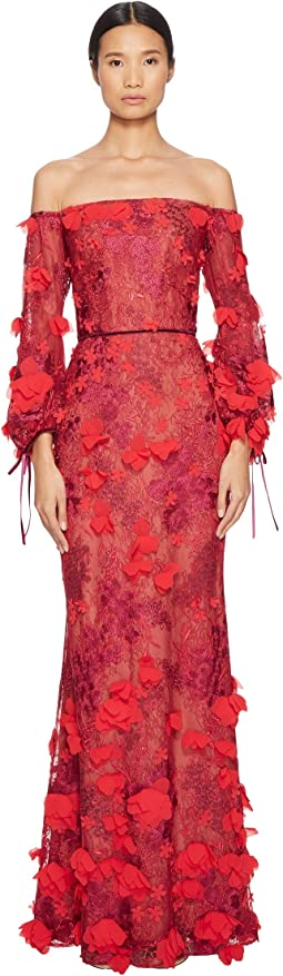 Off the Shoulder 3D Embroidered Gown with Bishop Sleeve