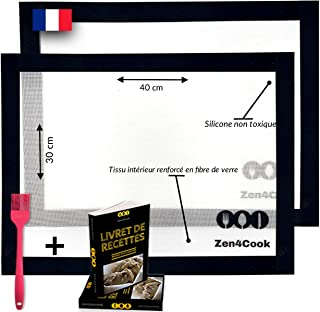 2 Tapis de cuisson en silicone et Fibre de Verre réutilisable et anti-adhésif. Feuilles de cuisson idéal pour réussir vos ...