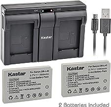 Kastar 2X Battery + USB Dual Charger for Sanyo DB-L40, DB-L40AU and Sanyo Xacti DMX-HD1, DMX-HD1A, DMW-HD2, DMX-HD15, DMX-...